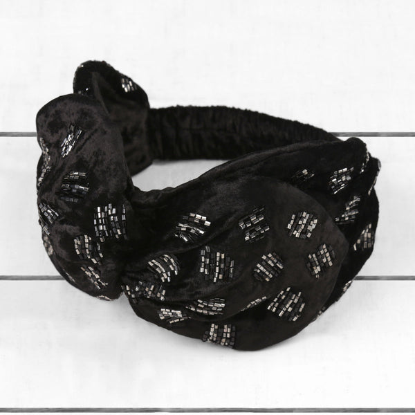 Deepa by Deepa Gurnani Handmade Rhonda Velvet Knotted Headwrap Black on Wood Background