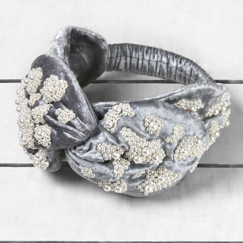 Deepa by Deepa Gurnani Handmade Blaire Velvet Knotted Headwrap Grey on Wood Background
