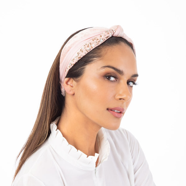 Mackenna Headwrap with hand embroidered pearls and crystals