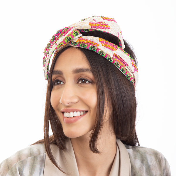 Hand Embroidered Headwrap by Deepa Gurnani