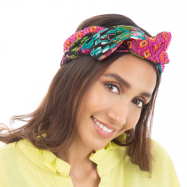 Multi color wire headwrap by Deepa Gurnani