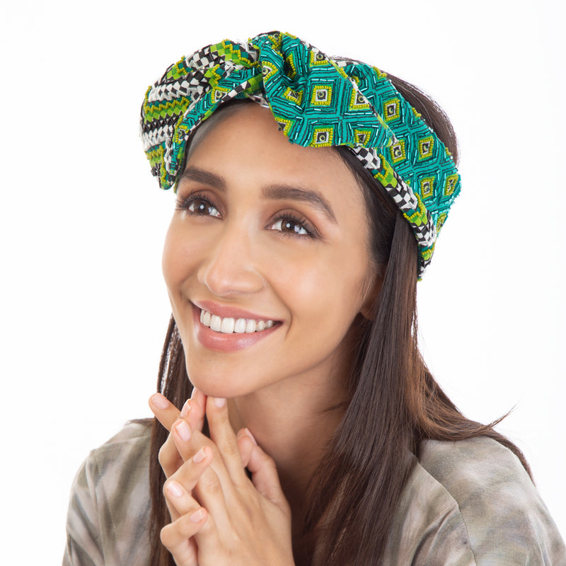 Our hand embroidered Sai Headwrap balances function and design
