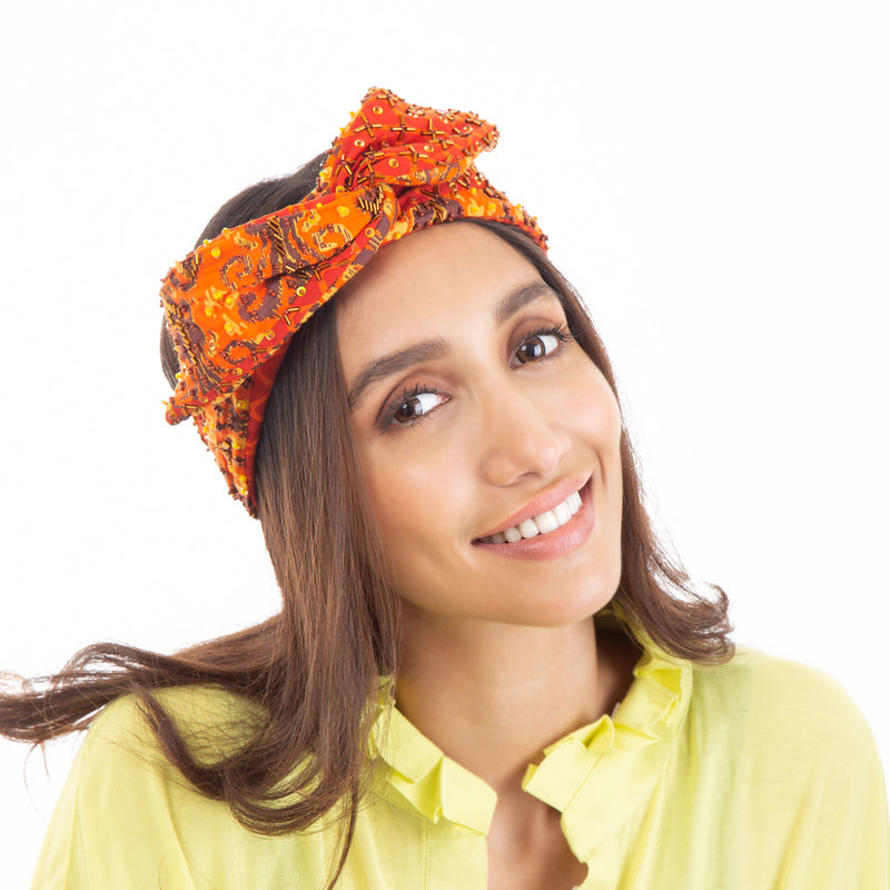 Unique Orange  Headwrap by Deepa Gurnani