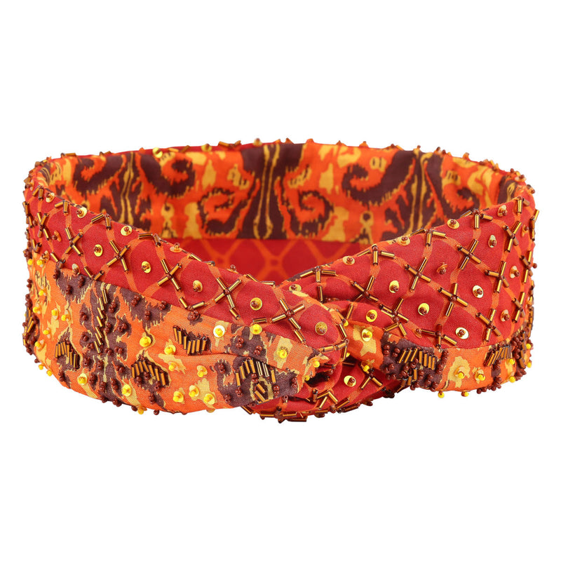 Deepa by Deepa Gurnani Handmade Taj Headwrap Orange