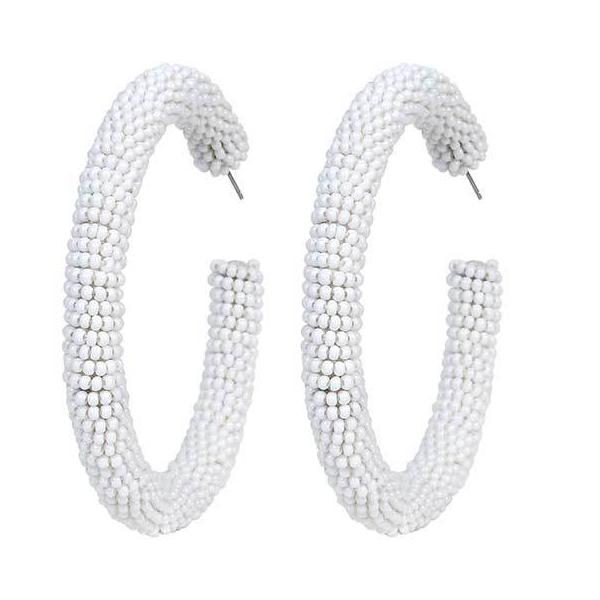 Deepa by Deepa Gurnani Handmade White Ethena Hoop Earrings