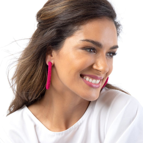 Model Wearing Deepa by Deepa Gurnani Handmade Fuchsia Zaria Hoop Earrings
