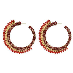 Deepa by Deepa Gurnani Handmade Shaylee Hoop Earrings in Red