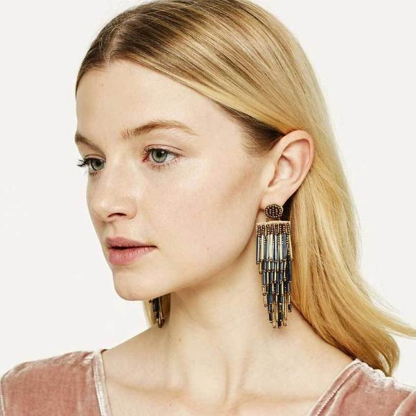Model Wearing Deepa by Deepa Gurnani Handmade Lightweight Gold Color Alvie Earrings