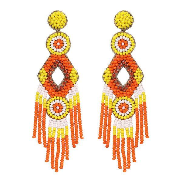 Deepa by Deepa Gurnani Handmade Orange Color Bridget Earrings