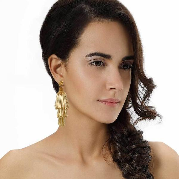 Model Wearing Deepa by Deepa Gurnani Handmade Gold Color Rain Earrings