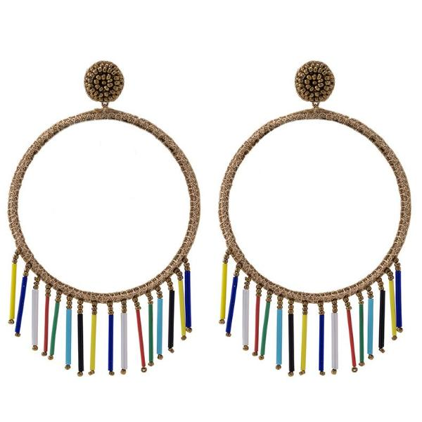 Deepa by Deepa Gurnani Handmade Chauncey Earrings in Gold and Rainbow