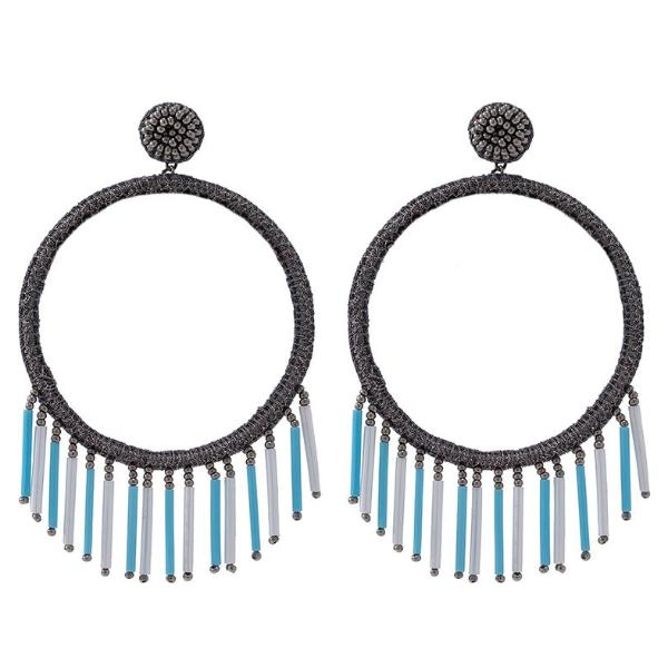 Deepa by Deepa Gurnani Handmade Chauncey Earrings in Gunmetal and Powder Blue