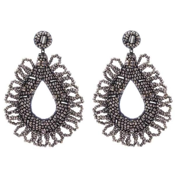 Deepa by Deepa Gurnani Handmade Mollie Earrings in Gunmetal