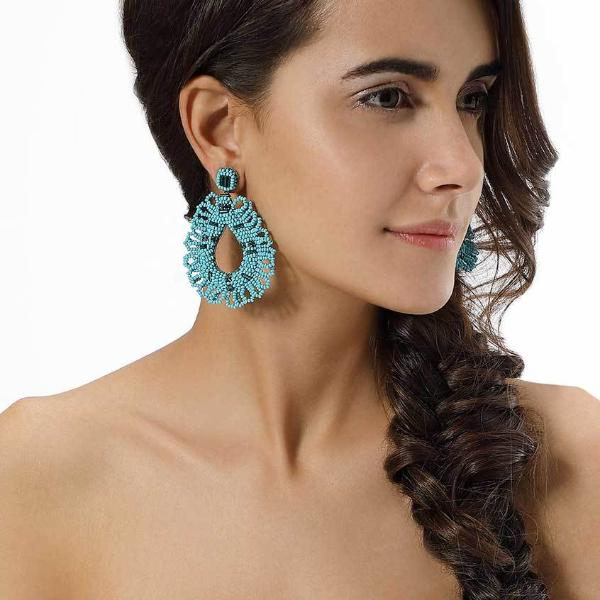 Model Wearing Deepa by Deepa Gurnani Handmade Mollie Earrings in Turquoise