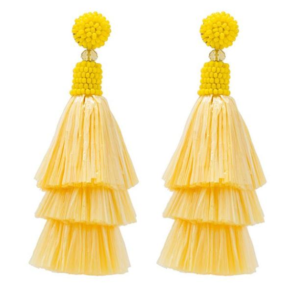 Deepa by Deepa Gurnani Handmade Yellow Raffia Valerie Earrings