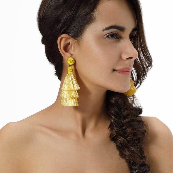 Model Wearing Yellow Raffia Valerie Earrings