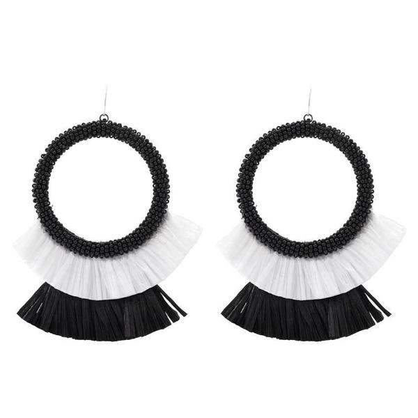 Deepa by Deepa Gurnani Handmade Black and White Petal Earrings