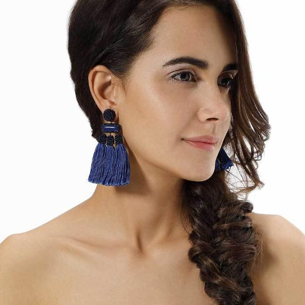 Model Wearing Deepa by Deepa Gurnani Handmade Cobalt Color Maeve Earrings