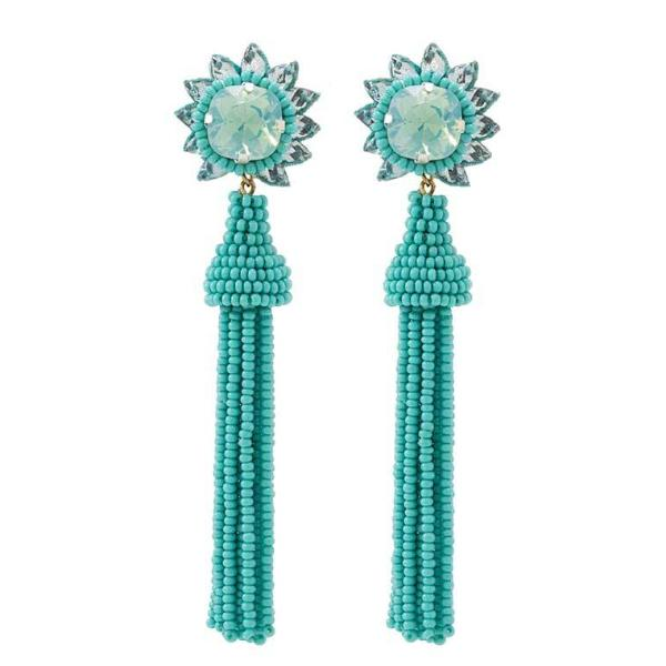 Deepa by Deepa Gurnani Handmade Giovanna Earrings in Turquoise