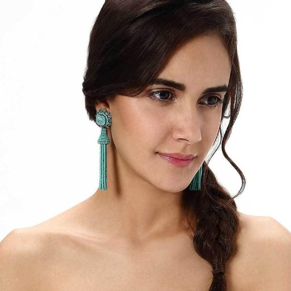 Model Wearing Deepa by Deepa Gurnani Handmade Giovanna Earrings