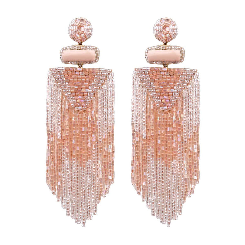Handmade Embroidered Deepa by Deepa Gurnani Peach Jody Earrings