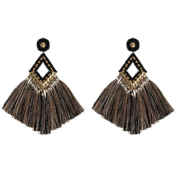 Deepa by Deepa Gurnani Handmade Black Lotus Earrings
