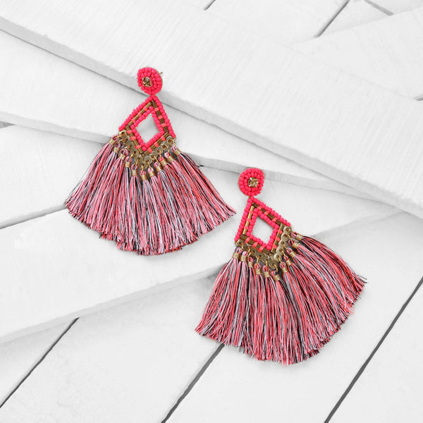 Deepa by Deepa Gurnani Lotus Earrings Fluorescent Pink on Wood Background