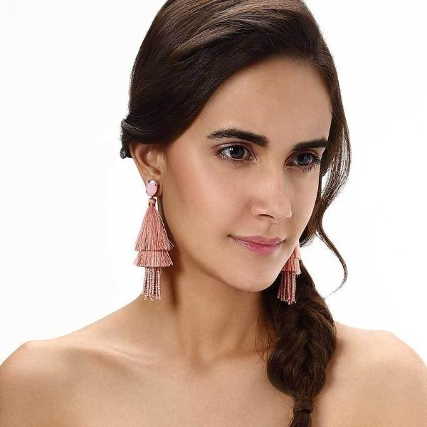 Model Wearing Deepa by Deepa Gurnani Handmade Jada Earrings in Pink