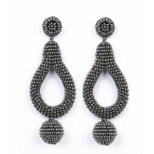 Deepa by Deepa Gurnani Handmade Hanna Earrings in Gunmetal