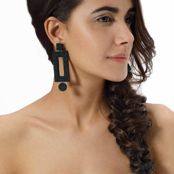 Model Wearing Deepa by Deepa Gurnani Handmade Kassy Earrings in Hunter