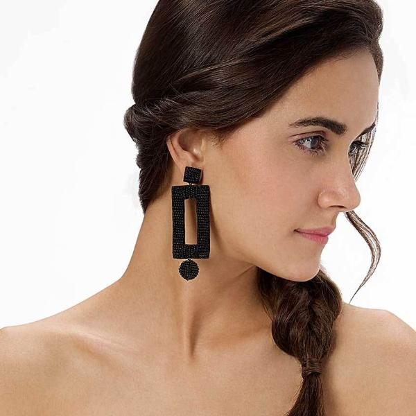 Model Wearing Deepa by Deepa Gurnani Handmade Kassy Earrings in Black