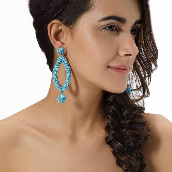 Model Wearing Deepa by Deepa Gurnani Handmade Sky Blue Lee Earrings