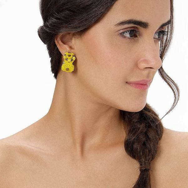 Model Wearing Deepa by Deepa Gurnani Handmade Dayana Earrings in Yellow