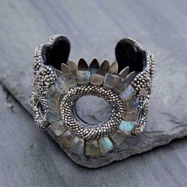 Deepa Gurnani Handmade Crystal Cuff on Slate Background