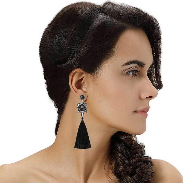 Model Wearing Deepa by Deepa Gurnani Handmade Kasey Earrings in Black