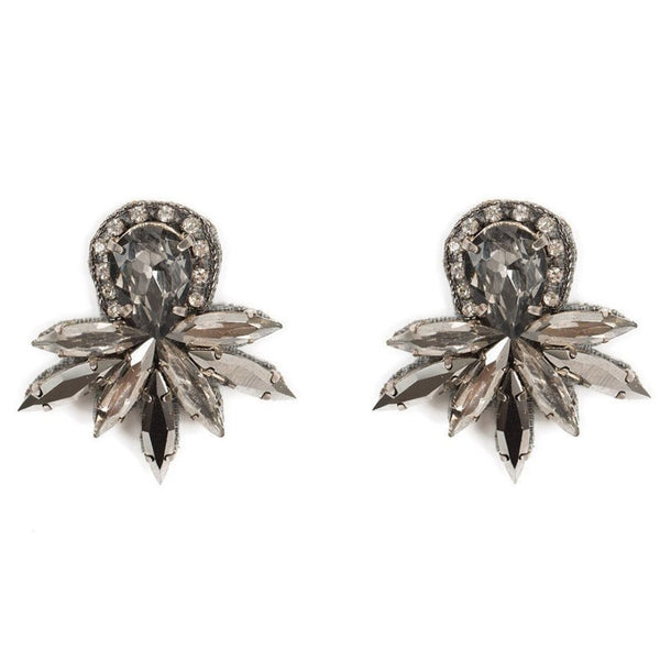 Deepa by Deepa Gurnani Handmade Lorena Earrings in Gunmetal