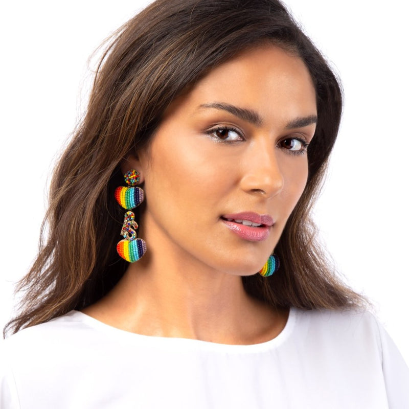 Love is love hand beaded earrings by Deepa Gurnani