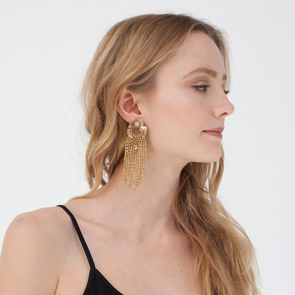 Model Wearing Deepa by Deepa Gurnani Handmade Mavis Earrings in Gold