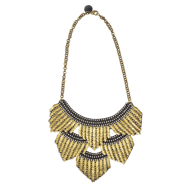 Gold hand embroidered bib necklace