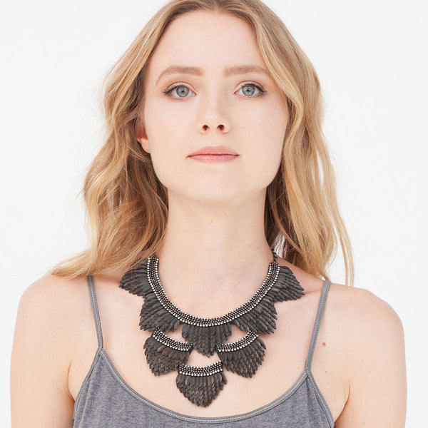 Model Wearing Deepa by Deepa Gurnani Handmade Jaliyah Necklace in Black