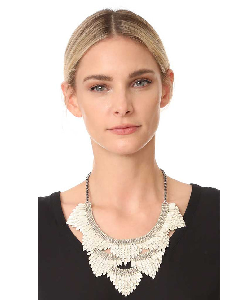 Model Wearing Deepa by Deepa Gurnani Ivory Color Charvi Necklace