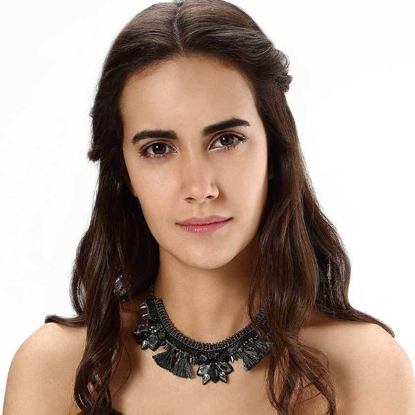 Model Wearing Deepa by Deepa Gurnani Handmade Gunmetal Terra Necklace