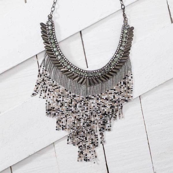 Deepa by Deepa Gurnani Handmade Cheryl Necklace in Gunmetal on Wood Background
