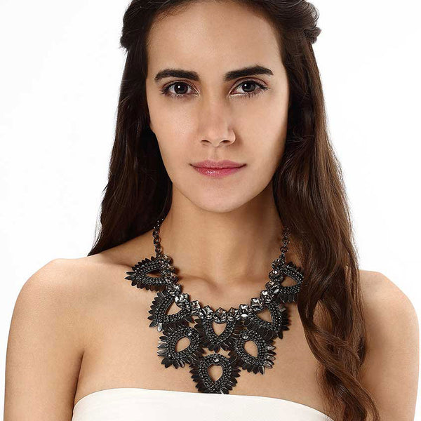 Model Wearing Deepa by Deepa Gurnani Handmade Samantha Necklace in Gunmetal