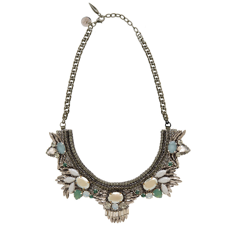 Deepa by Deepa Gurnani Handmade Janna Necklace in Gunmetal
