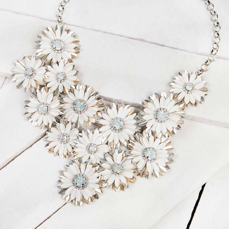 Deepa by Deepa Gurnani Handmade Gianne Necklace in White and Silver on Wood Background