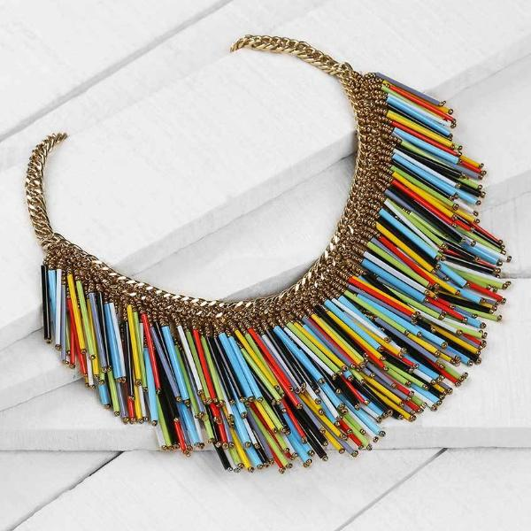 Deepa by Deepa Gurnani Handmade Yvette Necklace Multicolor on Wood Background
