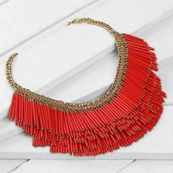 Deepa by Deepa Gurnani Handmade Yvette Necklace Red on Wood Background