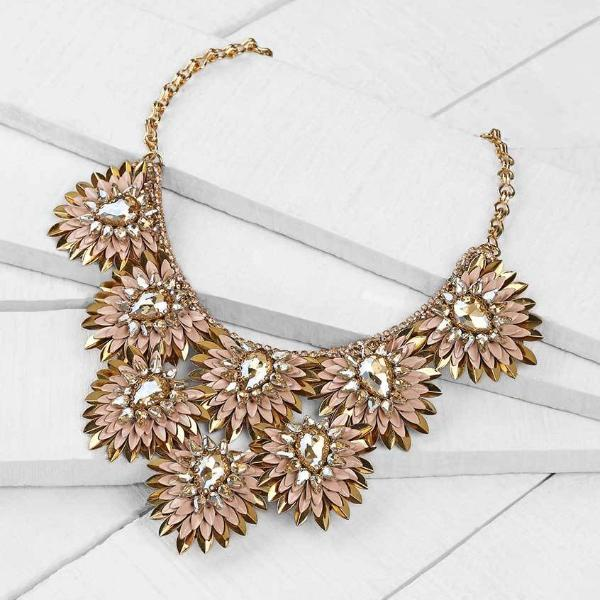 Deepa by Deepa Gurnani Handmade Peach Aria Necklace on Wood Background