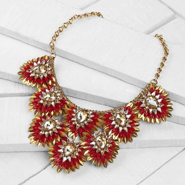 Deepa by Deepa Gurnani Handmade Burgundy Aria Necklace